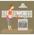 Housewife is cooking vector image