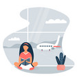 image of a reading girl at the airport vector image vector image