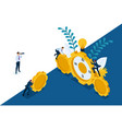 isometric leadership qalities landing page vector image