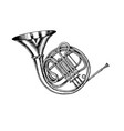 jazz french horn in monochrome engraved vintage vector image vector image