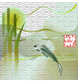 koi carp on traditional japanese background vector image