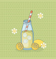 lemon juice fruit in bottle with straw vector image vector image