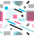 memphis seamless pattern with blue pink and black vector image vector image