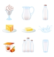 Milk realistic icons set vector image
