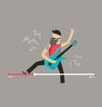 musician play guitar bearded man play guitar vector image
