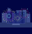 new year city firework online festival downtown vector image vector image