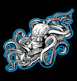 octopus sea blue drawing tattoo on black vector image vector image