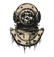 Old iron diving helmet vector image
