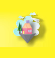 paper art of home sweet on floating islands vector image vector image