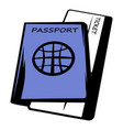 passport with tickets icon cartoon vector image vector image