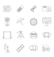 Photo studio icons set outline style vector image vector image