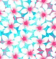 Pink and aqua Plumeria and Hibiscus floral vector image vector image