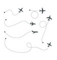 plane paths airline routes airplane silhouettes vector image