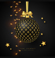 realistic christmas black bauble vector image vector image