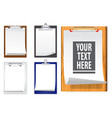 realistic clipboards with white paper vector image vector image