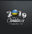 rwanda flag 2019 merry christmas typography new vector image