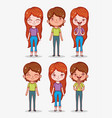set cute boys and girls with hairstyle and clothes vector image