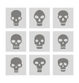 set of monochrome icons with skulls vector image