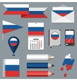 Set of stationety icons with flag elements Russia vector image