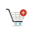 shopping cart icon with plus sign vector image vector image