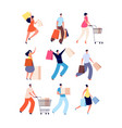 shopping people female with shop bags sale offer vector image vector image