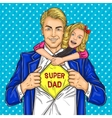 super dad and his beloved daughter vector image