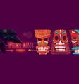 tiki bar cartoon web banner with tribal masks vector image vector image