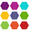 up arrow icons set 9 vector image vector image