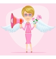 Young woman with a loudspeaker vector image