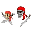 Pirate skull with sharp sabers vector image
