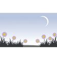 Flower with moon at spring landscape vector image