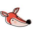 fox cartoon head in watercolor silhouette vector image