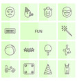 14 fun icons vector image vector image