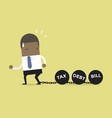 african businessman dragging chains and big ball vector image