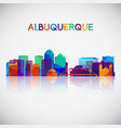 albuquerque skyline silhouette in colorful vector image vector image