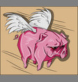 angry flying pig with wings and pink skin vector image vector image