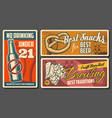 beer and snacks retro posters vintage cards vector image vector image