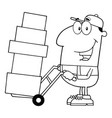 black and white delivery man cartoon character vector image