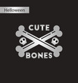 black and white style icon cross bones vector image vector image