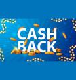 blue cashback banner with a large volume header vector image
