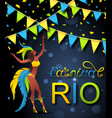 brazilian carnival poster with girl dancer wearing vector image