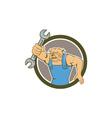 Bulldog Mechanic Holding Spanner Circle Cartoon vector image vector image