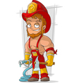 Cartoon fireman with axe in red vector image vector image