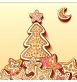 Christmas tree chocolate honey-cakes background vector image