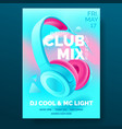 club poster with headphones dance party flyer vector image vector image