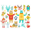 collection of animals snowmen vector image