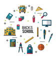 color poster of back to school with essential vector image