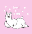 cute cartoon lama doodle vector image