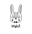 cute rabbit simple bunny face cartoon style vector image