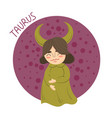 cute zodiac sign - taurus vector image